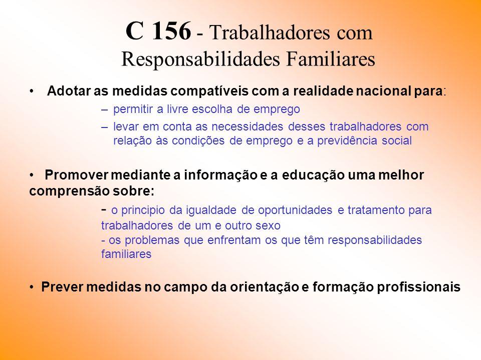 C 156 - Trabalhadores com Responsabilidades Familiares Adotar as medidas compatíveis com a realidade nacional para: –permitir a livre escolha de empre