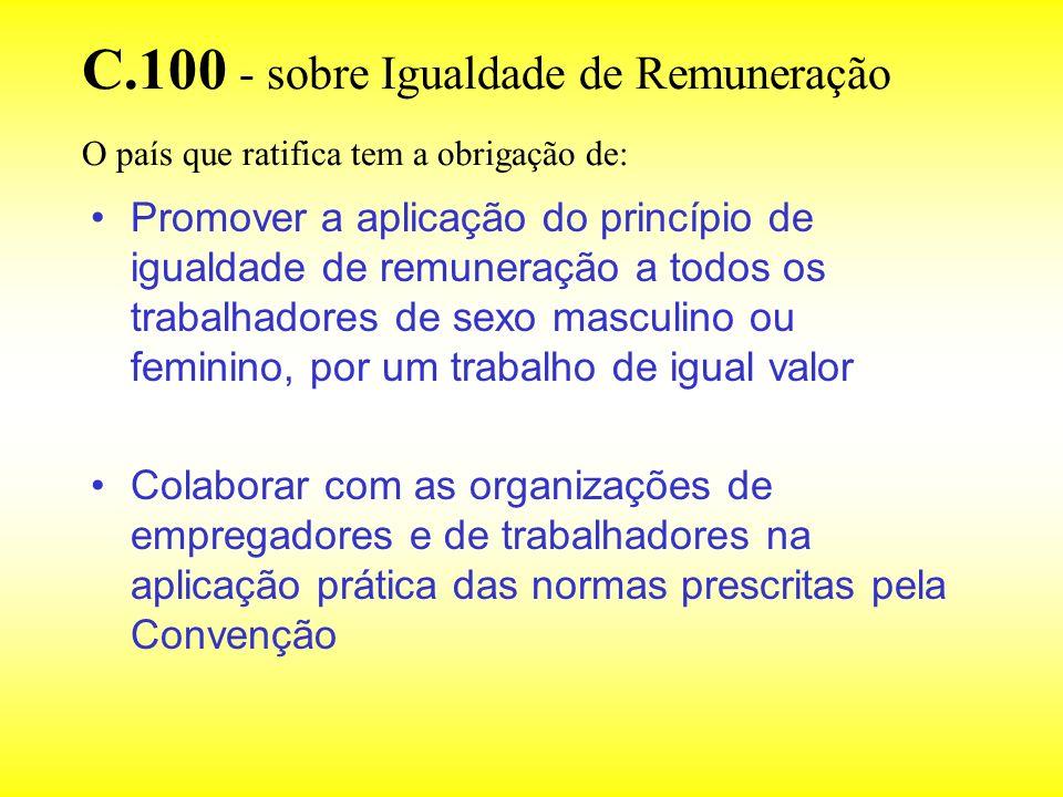C.100 - sobre Igualdade de Remuneração Define a igualdade de remuneração por um trabalho de igual valor como uma taxa de remuneração fixada sem discrimação por razão de sexo A aplicação da Convenção se dá mediante a avaliação objetiva dos diferentes empregos, com base nos trabalhos que estes efetuem