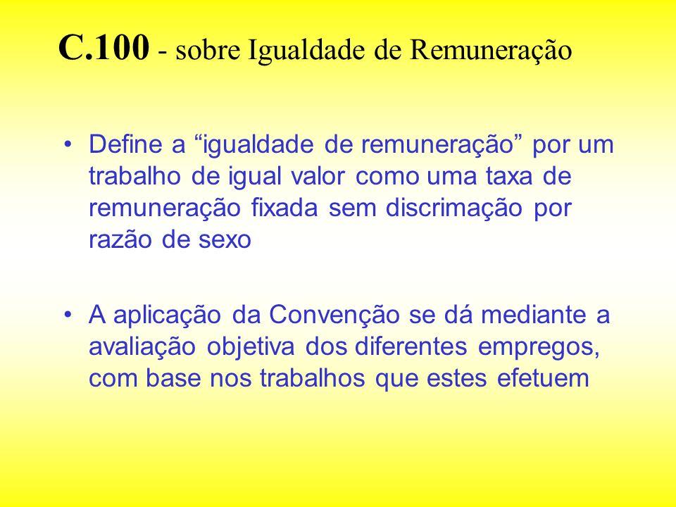 C.100 - sobre Igualdade de Remuneração Define a igualdade de remuneração por um trabalho de igual valor como uma taxa de remuneração fixada sem discri