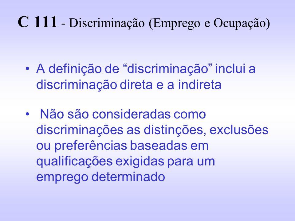 C 111 - Discriminação (Emprego e Ocupação) Entende-se por discriminação qualquer distinção, exclusão ou preferência baseada em Raça Cor Sexo Religião Opinião política Ascendência nacional ou Origem social que tenha o efeito de anular ou alterar a igualdade de oportunidades ou de tratamento
