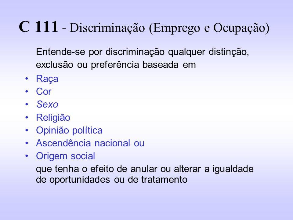 C 111 - Discriminação (Emprego e Ocupação) A Convenção inclui: A admissão ao emprego As diversas ocupações As condições de trabalho, e O acesso aos meios de formação profissional