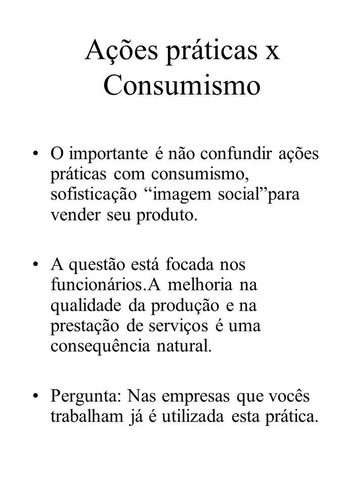 Ações práticas x Consumismo O importante é não confundir ações práticas com consumismo, sofisticação imagem socialpara vender seu produto. A questão e