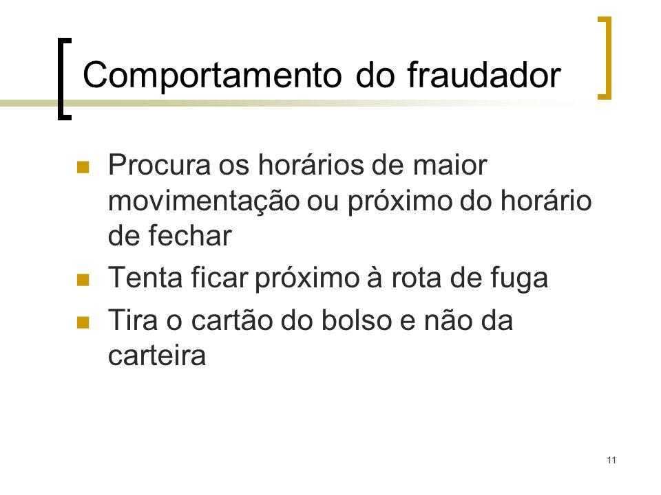 11 Comportamento do fraudador Procura os horários de maior movimentação ou próximo do horário de fechar Tenta ficar próximo à rota de fuga Tira o cart