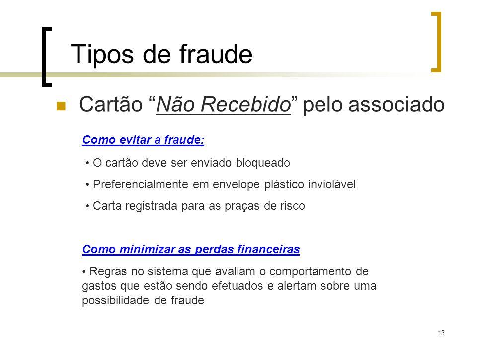 13 Tipos de fraude Cartão Não Recebido pelo associado Como evitar a fraude: O cartão deve ser enviado bloqueado Preferencialmente em envelope plástico