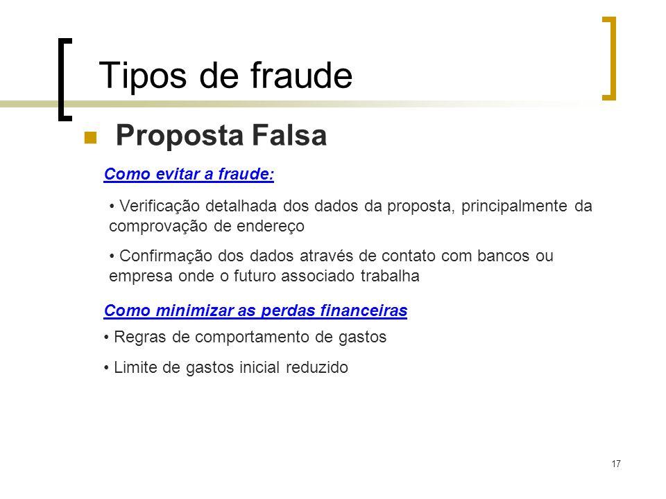 17 Tipos de fraude Proposta Falsa Como evitar a fraude: Verificação detalhada dos dados da proposta, principalmente da comprovação de endereço Confirm