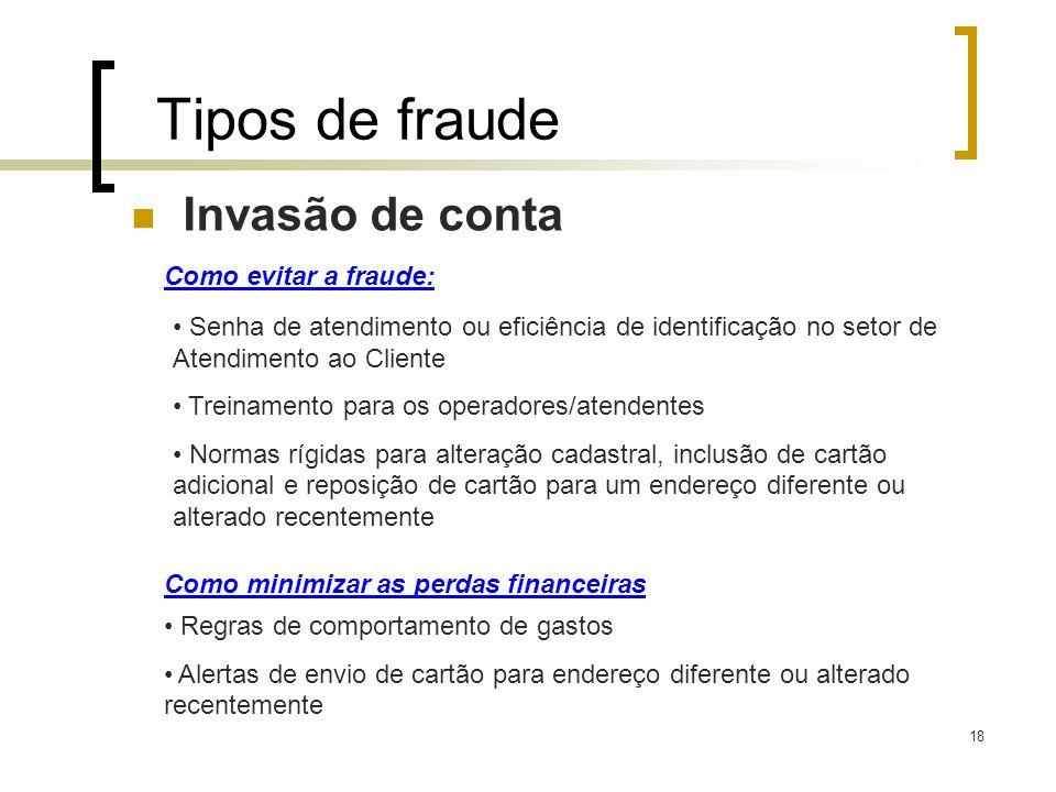 18 Tipos de fraude Invasão de conta Como evitar a fraude: Senha de atendimento ou eficiência de identificação no setor de Atendimento ao Cliente Trein