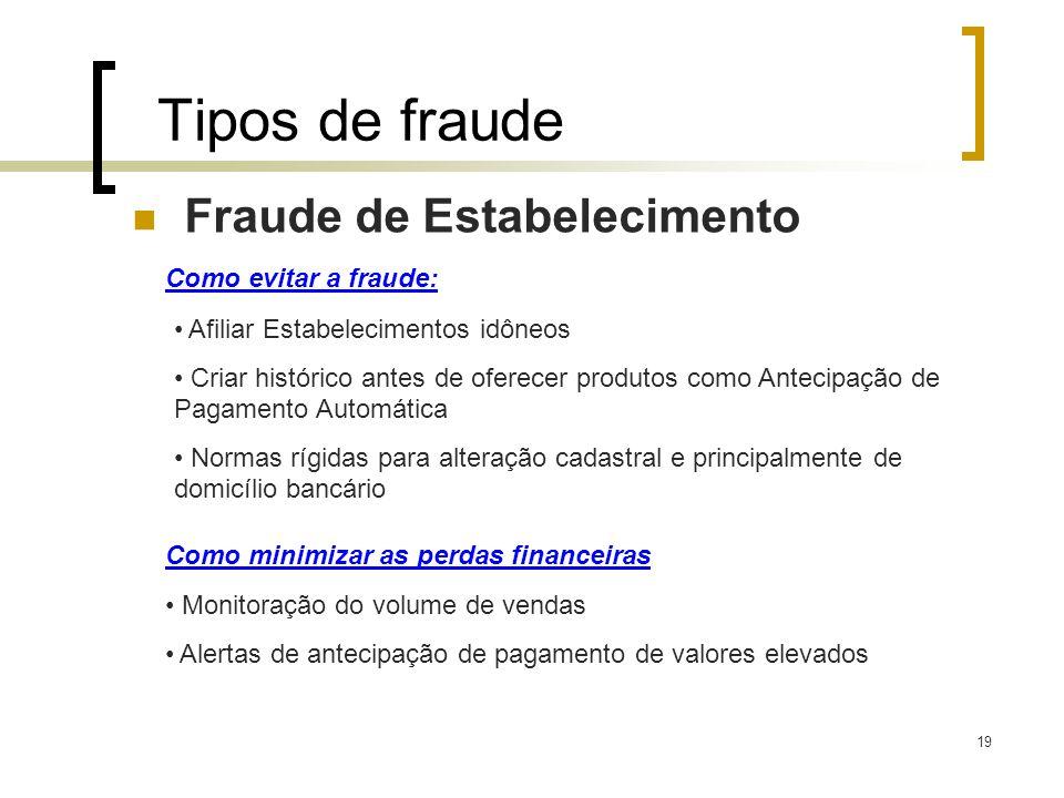 19 Tipos de fraude Fraude de Estabelecimento Como evitar a fraude: Afiliar Estabelecimentos idôneos Criar histórico antes de oferecer produtos como An