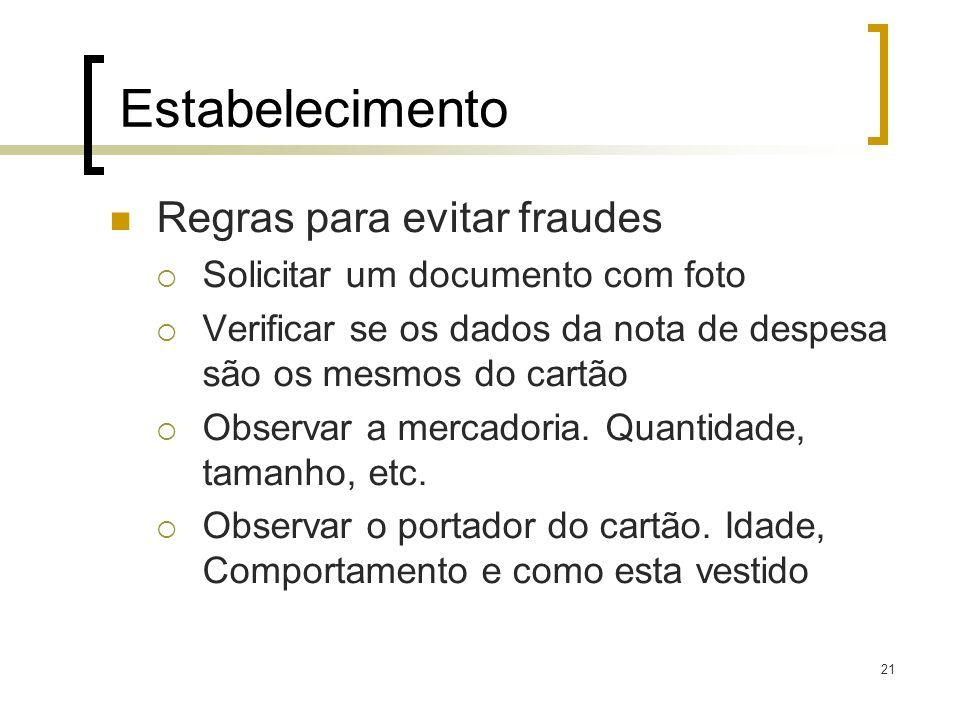 21 Estabelecimento Regras para evitar fraudes Solicitar um documento com foto Verificar se os dados da nota de despesa são os mesmos do cartão Observa