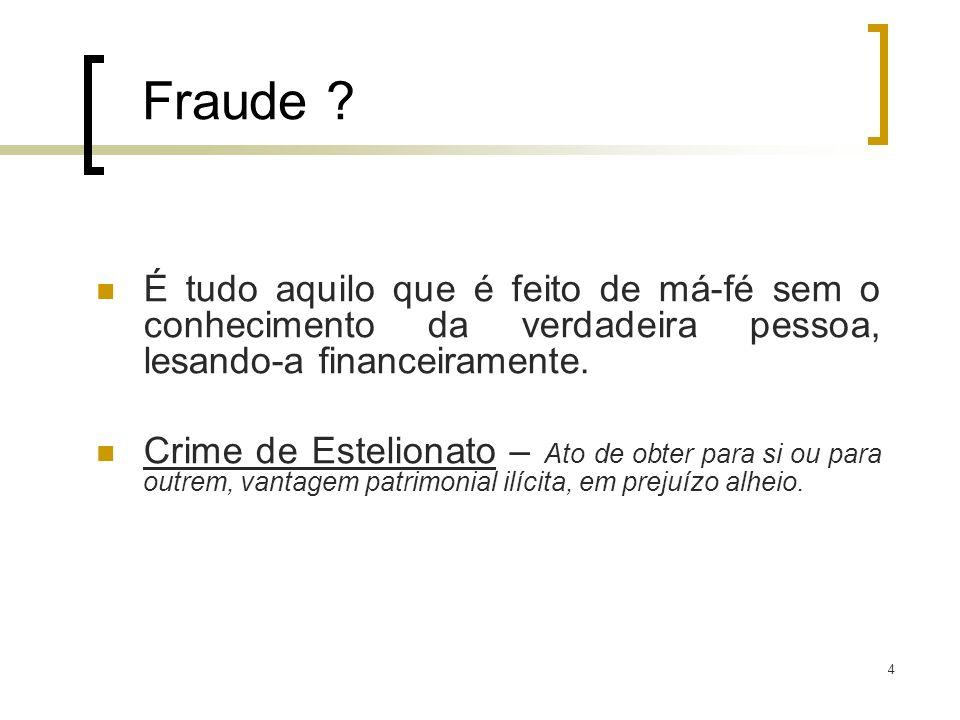 5 Fraude E quando o próprio portador resolve usar o seu cartão de forma ilícita.
