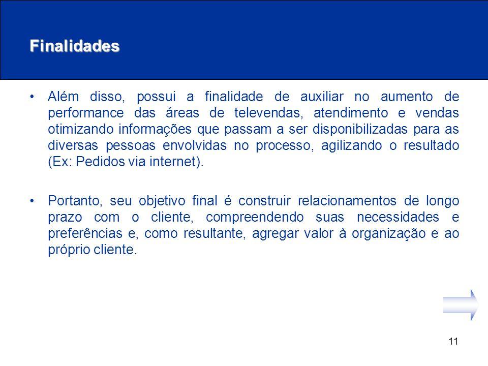 11 Finalidades Além disso, possui a finalidade de auxiliar no aumento de performance das áreas de televendas, atendimento e vendas otimizando informaç