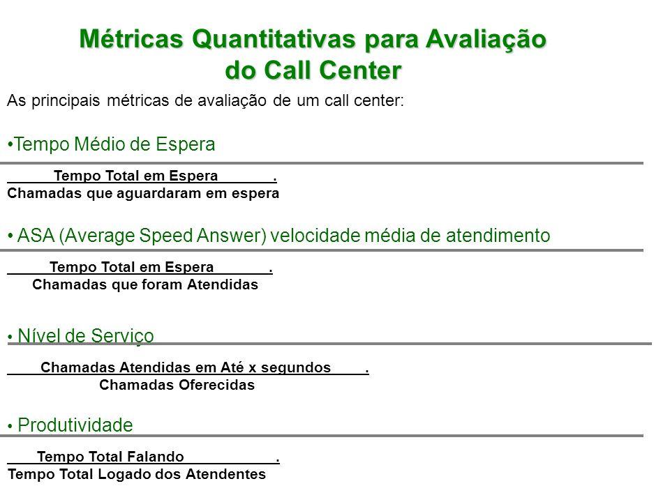 Métricas Quantitativas para Avaliação do Call Center Métricas Quantitativas para Avaliação do Call Center As principais métricas de avaliação de um call center: Login/Logout Tempo Total Logado dos Atendentes.