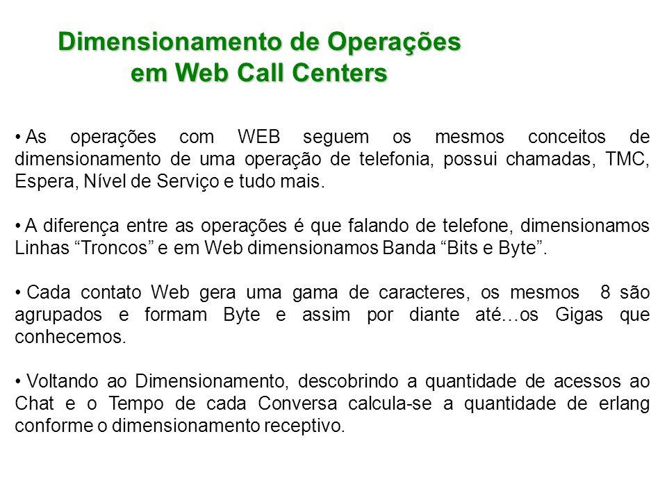 Dimensionamento de Operações em Web Call Centers As operações com WEB seguem os mesmos conceitos de dimensionamento de uma operação de telefonia, poss