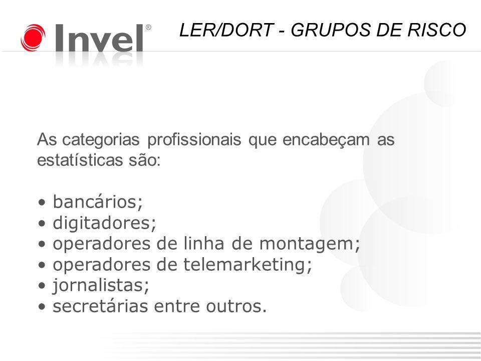 As categorias profissionais que encabeçam as estatísticas são: bancários; digitadores; operadores de linha de montagem; operadores de telemarketing; j