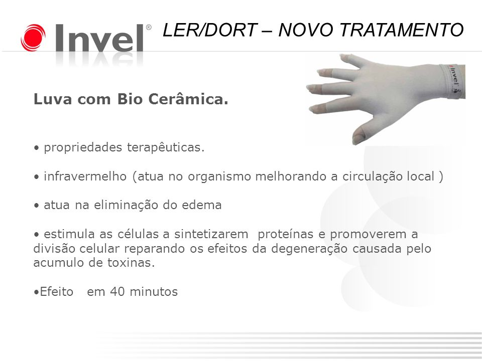 Luva com Bio Cerâmica. propriedades terapêuticas. infravermelho (atua no organismo melhorando a circulação local ) atua na eliminação do edema estimul