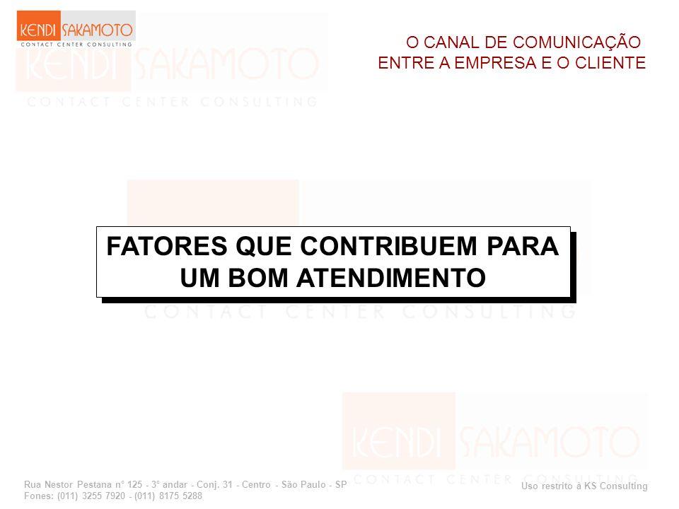 Uso restrito à KS Consulting Rua Nestor Pestana n° 125 - 3° andar - Conj. 31 - Centro - São Paulo - SP Fones: (011) 3255 7920 - (011) 8175 5288 FATORE
