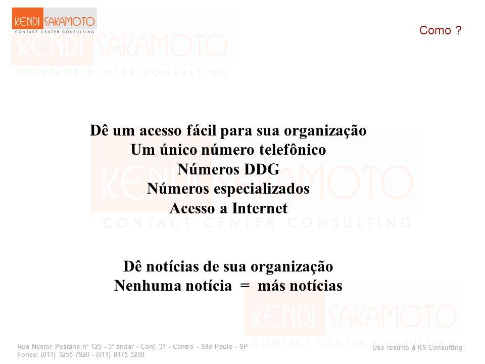 Uso restrito à KS Consulting Rua Nestor Pestana n° 125 - 3° andar - Conj. 31 - Centro - São Paulo - SP Fones: (011) 3255 7920 - (011) 8175 5288 Como ?