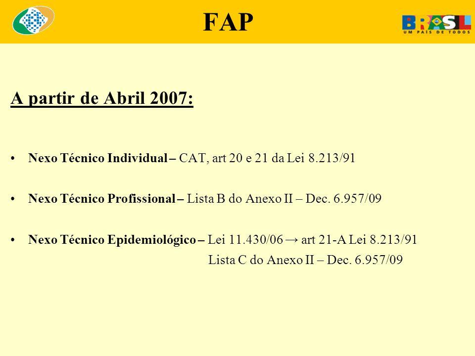 FAP A partir de Abril 2007: Nexo Técnico Individual – CAT, art 20 e 21 da Lei 8.213/91 Nexo Técnico Profissional – Lista B do Anexo II – Dec. 6.957/09