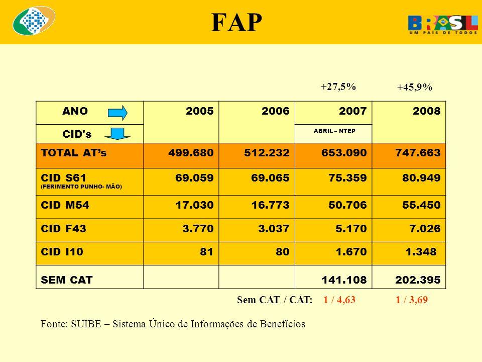 FAP Para efeitos financeiros em janeiro/2010: 952.561 empresas agrupadas em 1.301 subclasses (CNAE 2.0) 879.933 empresas ( 92,37% ) : bonificadas pelo FAP 72.628 empresas ( 7,62% ) : penalizadas pelo FAP Obs: 3.328.000 empresas : Simples Nacional e Filantrópicas isentas