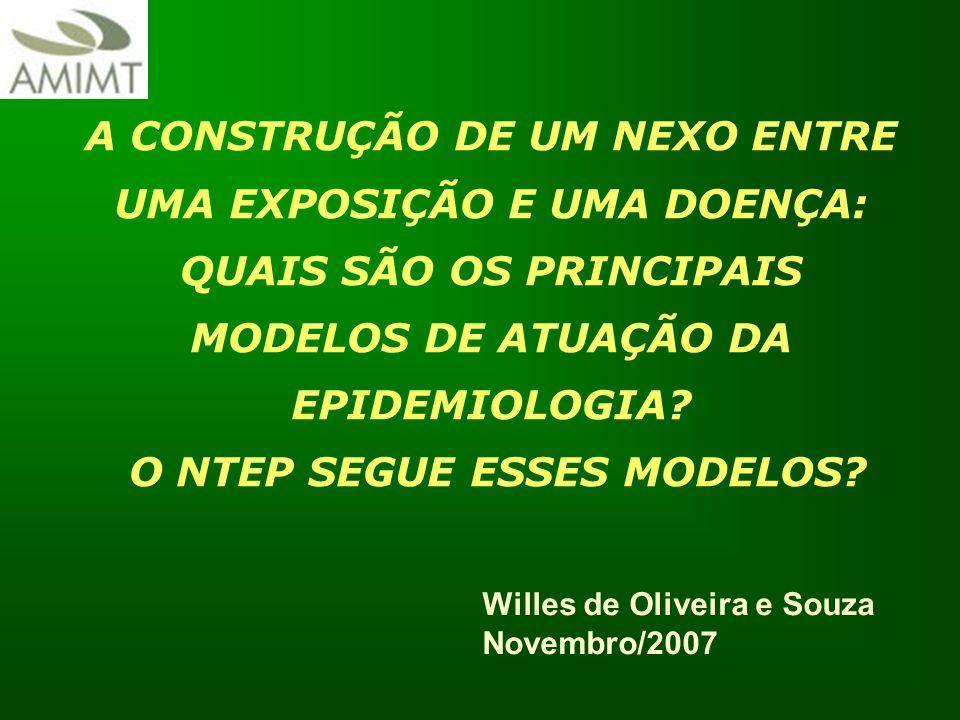 Willes de Oliveira e Souza Novembro/2007 A CONSTRUÇÃO DE UM NEXO ENTRE UMA EXPOSIÇÃO E UMA DOENÇA: QUAIS SÃO OS PRINCIPAIS MODELOS DE ATUAÇÃO DA EPIDE