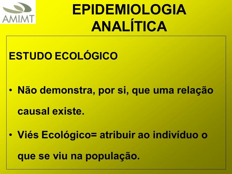EPIDEMIOLOGIA ANALÍTICA ESTUDO ECOLÓGICO Não demonstra, por si, que uma relação causal existe. Viés Ecológico= atribuir ao indivíduo o que se viu na p
