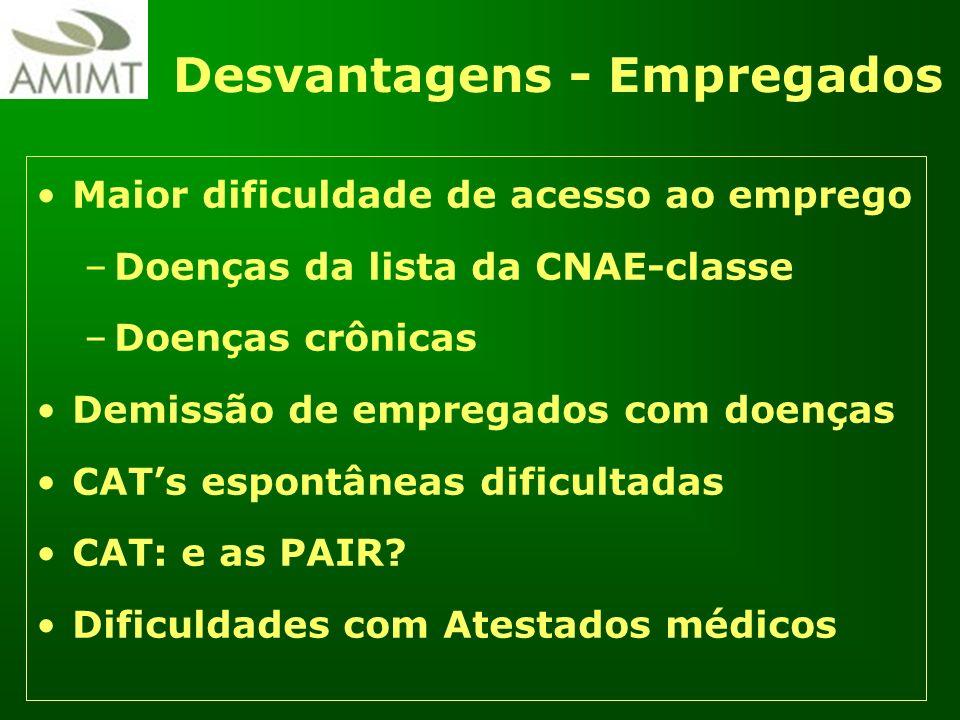 Desvantagens - Empregados Maior dificuldade de acesso ao emprego –Doenças da lista da CNAE-classe –Doenças crônicas Demissão de empregados com doenças