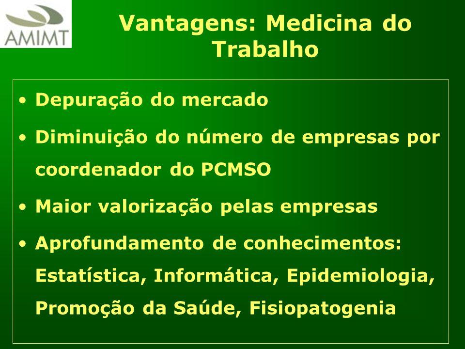 Vantagens: Medicina do Trabalho Depuração do mercado Diminuição do número de empresas por coordenador do PCMSO Maior valorização pelas empresas Aprofu