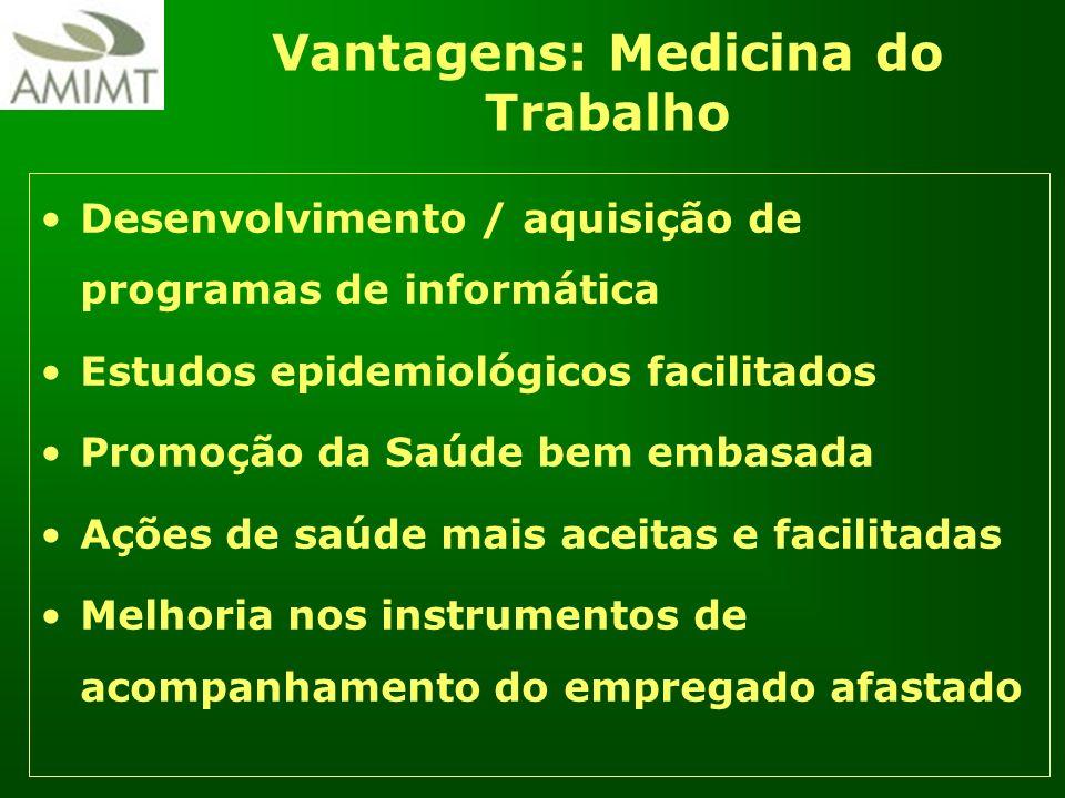Vantagens: Medicina do Trabalho Desenvolvimento / aquisição de programas de informática Estudos epidemiológicos facilitados Promoção da Saúde bem emba