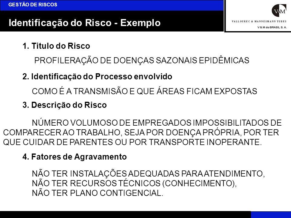 Identificação do Risco - Exemplo GESTÃO DE RISCOS 1. Titulo do Risco 2. Identificação do Processo envolvido 3. Descrição do Risco 4. Fatores de Agrava