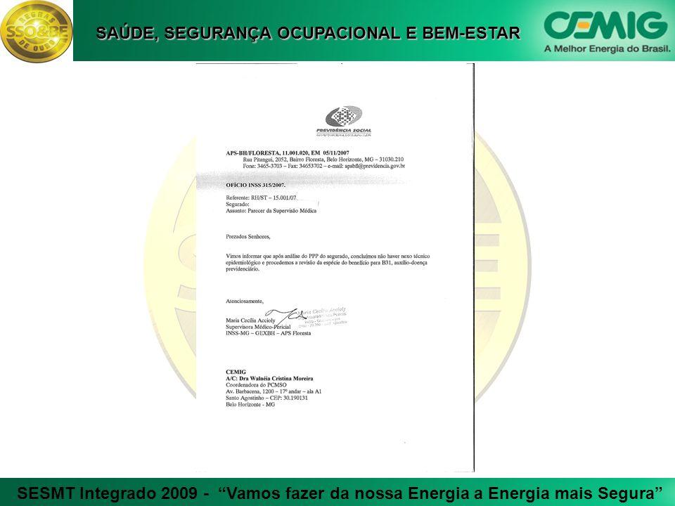 SESMT Integrado 2009 - Vamos fazer da nossa Energia a Energia mais Segura SAÚDE, SEGURANÇA OCUPACIONAL E BEM-ESTAR