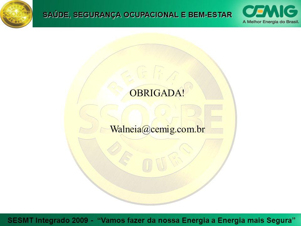 SESMT Integrado 2009 - Vamos fazer da nossa Energia a Energia mais Segura SAÚDE, SEGURANÇA OCUPACIONAL E BEM-ESTAR OBRIGADA! Walneia@cemig.com.br