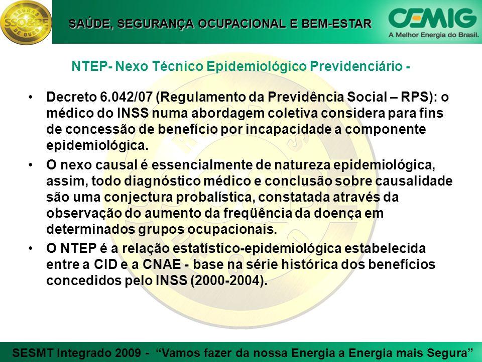SESMT Integrado 2009 - Vamos fazer da nossa Energia a Energia mais Segura SAÚDE, SEGURANÇA OCUPACIONAL E BEM-ESTAR NTEP- Nexo Técnico Epidemiológico P