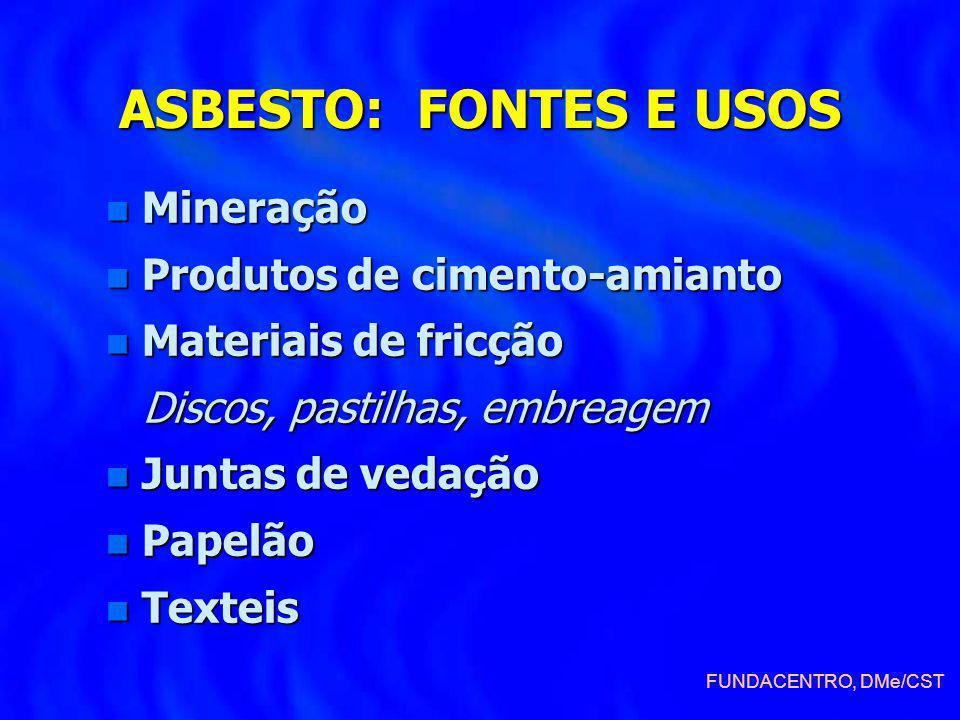 ASBESTO: FONTES E USOS n Mineração n Produtos de cimento-amianto n Materiais de fricção Discos, pastilhas, embreagem Discos, pastilhas, embreagem n Ju