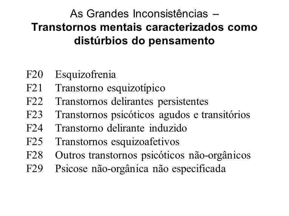 As Grandes Inconsistências – Transtornos mentais caracterizados como distúrbios do pensamento F20Esquizofrenia F21Transtorno esquizotípico F22Transtor