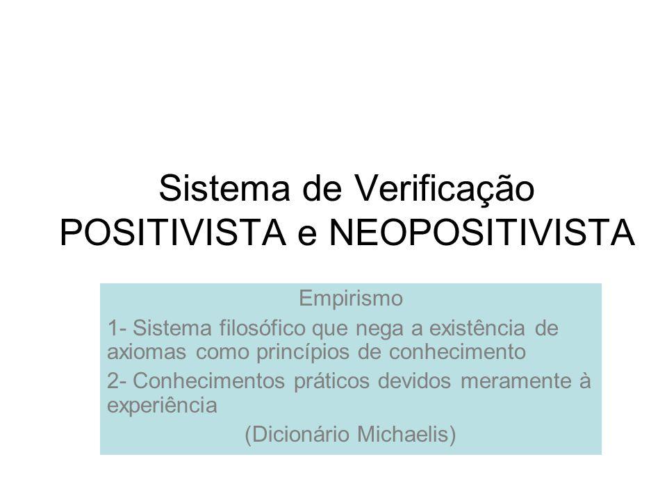 Sistema de Verificação POSITIVISTA e NEOPOSITIVISTA Empirismo 1- Sistema filosófico que nega a existência de axiomas como princípios de conhecimento 2