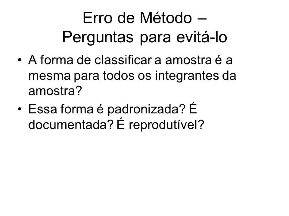 Erro de Método – Perguntas para evitá-lo A forma de classificar a amostra é a mesma para todos os integrantes da amostra? Essa forma é padronizada? É