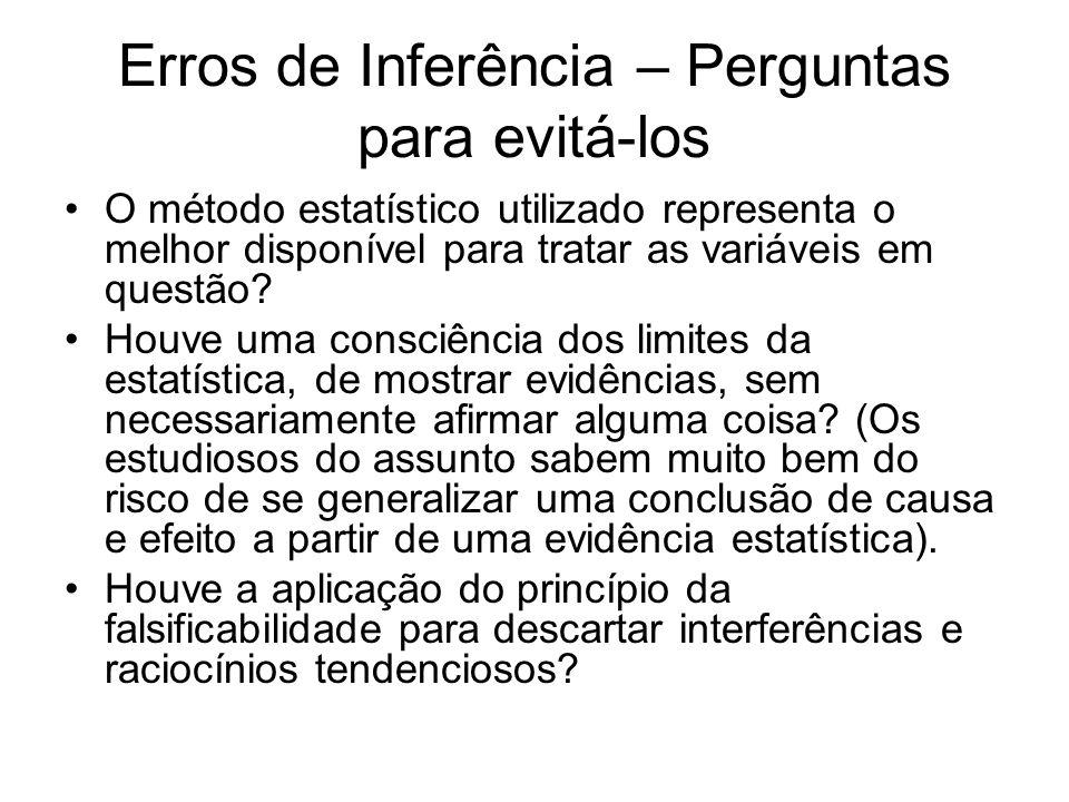 Erros de Inferência – Perguntas para evitá-los O método estatístico utilizado representa o melhor disponível para tratar as variáveis em questão? Houv