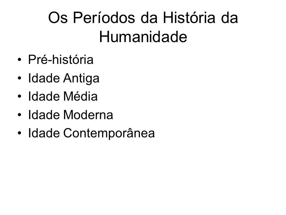 Os Períodos da História da Humanidade Pré-história Idade Antiga Idade Média Idade Moderna Idade Contemporânea