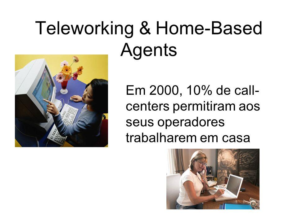 Teleworking & Home-Based Agents Em 2000, 10% de call- centers permitiram aos seus operadores trabalharem em casa