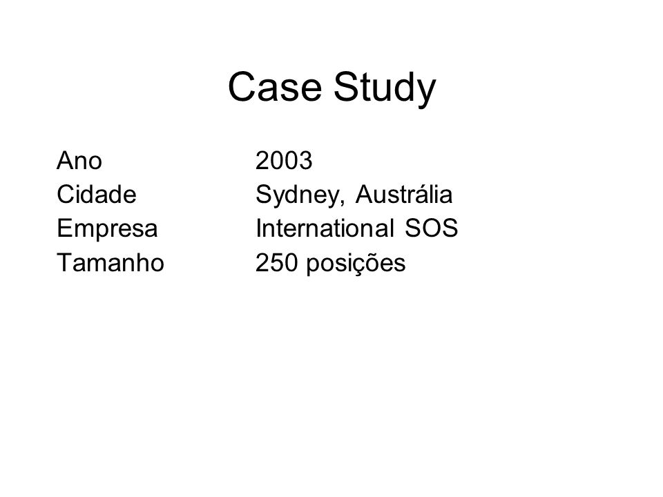 Case Study Ano2003 CidadeSydney, Austrália EmpresaInternational SOS Tamanho250 posições