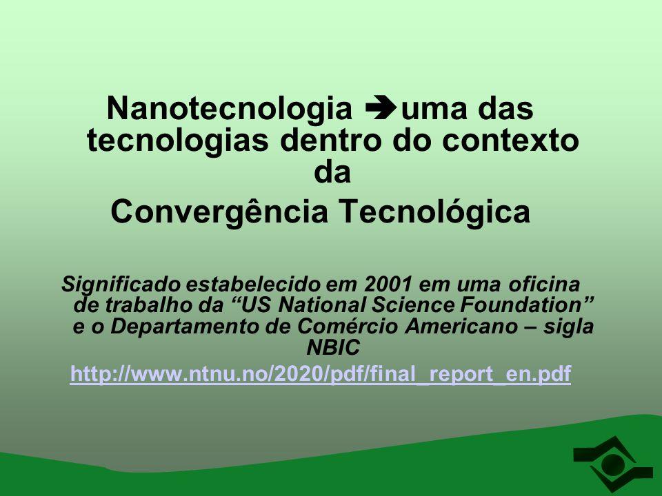 Nanotecnologia uma das tecnologias dentro do contexto da Convergência Tecnológica Significado estabelecido em 2001 em uma oficina de trabalho da US Na