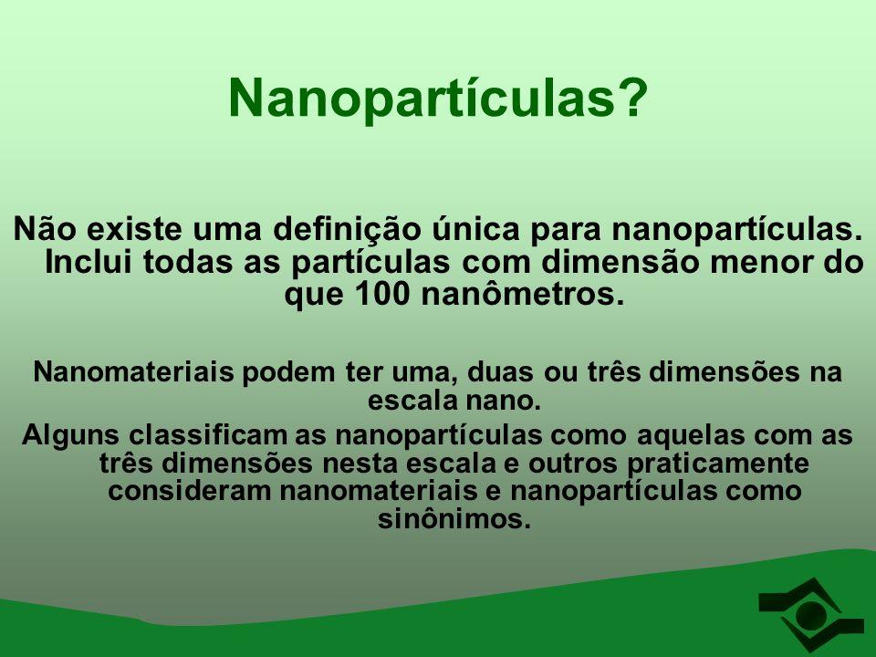 Nanopartículas? Não existe uma definição única para nanopartículas. Inclui todas as partículas com dimensão menor do que 100 nanômetros. Nanomateriais