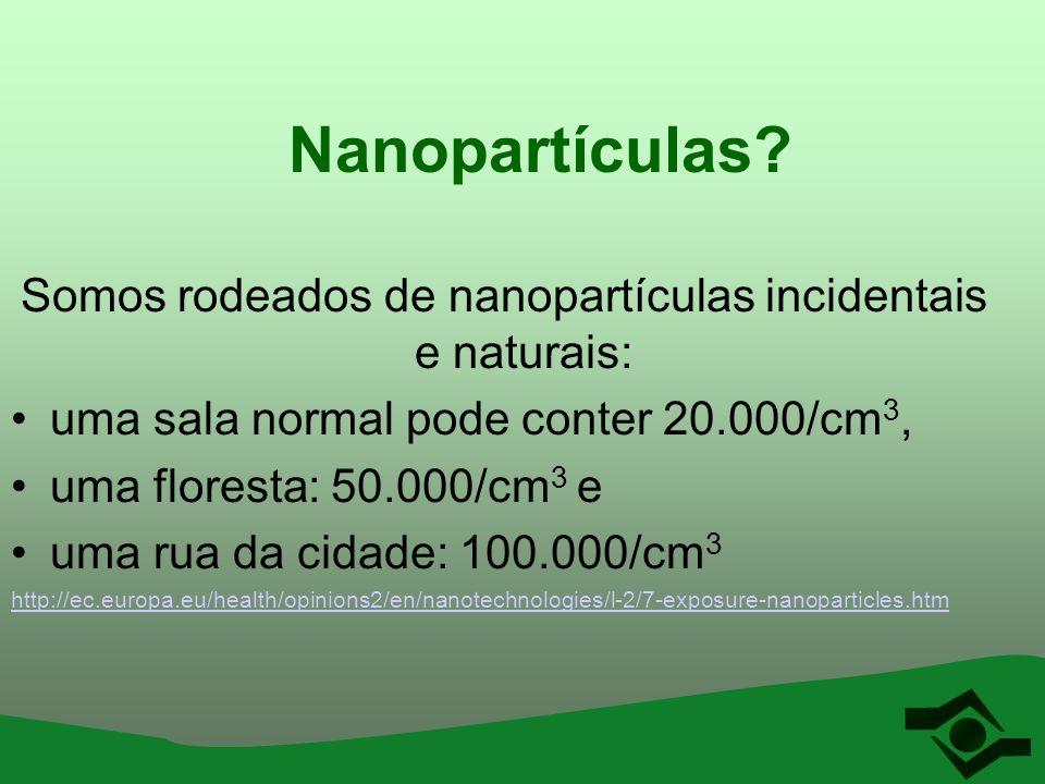 Nanopartículas? Somos rodeados de nanopartículas incidentais e naturais: uma sala normal pode conter 20.000/cm 3, uma floresta: 50.000/cm 3 e uma rua