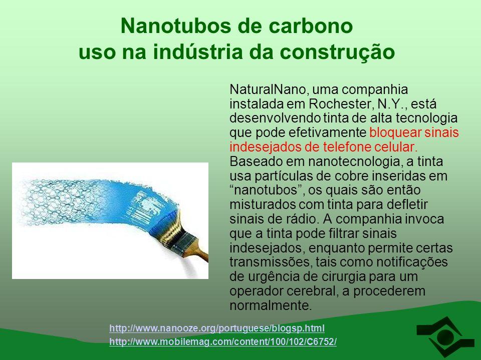 Nanotubos de carbono uso na indústria da construção NaturalNano, uma companhia instalada em Rochester, N.Y., está desenvolvendo tinta de alta tecnolog