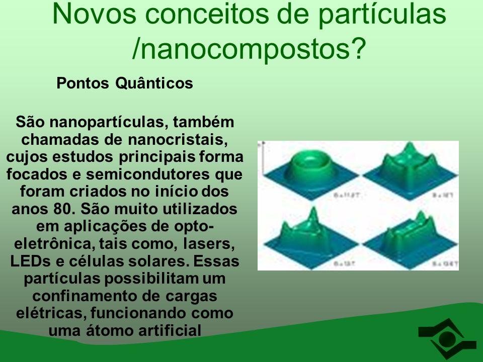 Novos conceitos de partículas /nanocompostos? Pontos Quânticos São nanopartículas, também chamadas de nanocristais, cujos estudos principais forma foc