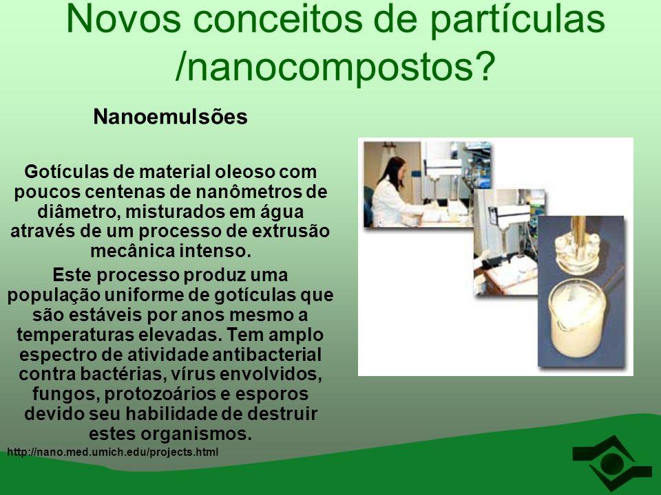 Novos conceitos de partículas /nanocompostos? Nanoemulsões Gotículas de material oleoso com poucos centenas de nanômetros de diâmetro, misturados em á