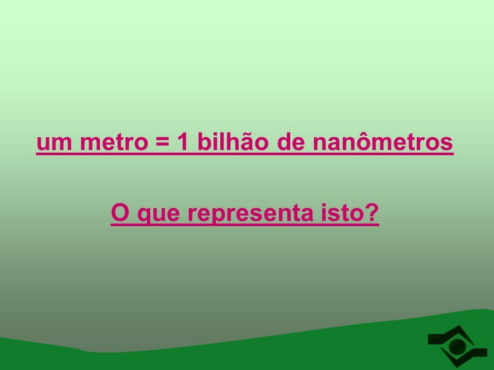Comparando os tamanhos O rio Amazonas mede quase 7.000 quilômetros e é cheio de água 7.000.000 metros 7.000.000.000 milímetros Uma gota de água que sai de uma torneira grande pode ter por exemplo 7 milímetros Assim, uma gota de água está para todo o comprimento do rio Amazonas assim como um nanômetro está para o metro 7 milímetros