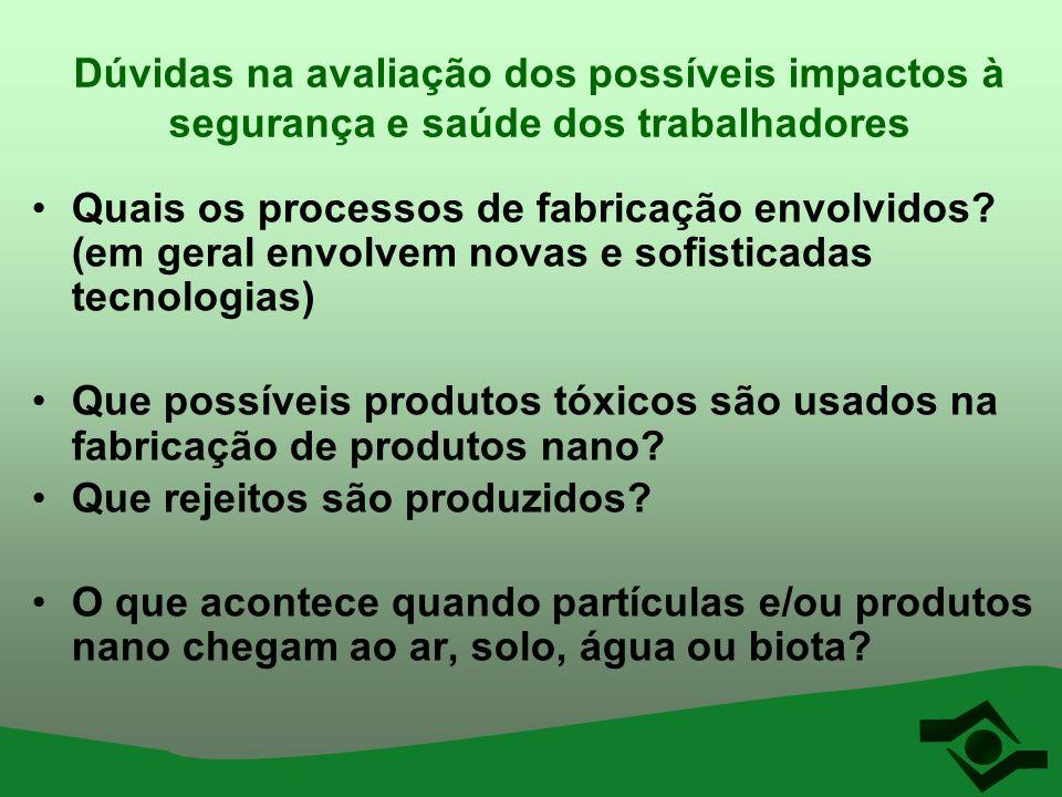 Dúvidas na avaliação dos possíveis impactos à segurança e saúde dos trabalhadores Quais os processos de fabricação envolvidos? (em geral envolvem nova