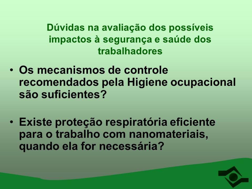Dúvidas na avaliação dos possíveis impactos à segurança e saúde dos trabalhadores Os mecanismos de controle recomendados pela Higiene ocupacional são