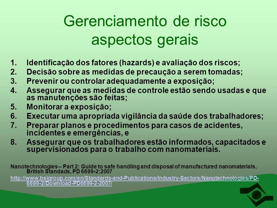Gerenciamento de risco aspectos gerais 1.Identificação dos fatores (hazards) e avaliação dos riscos; 2.Decisão sobre as medidas de precaução a serem t