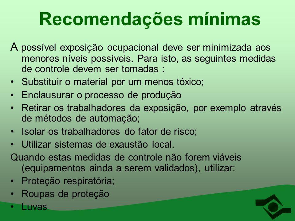 Recomendações mínimas A possível exposição ocupacional deve ser minimizada aos menores níveis possíveis. Para isto, as seguintes medidas de controle d